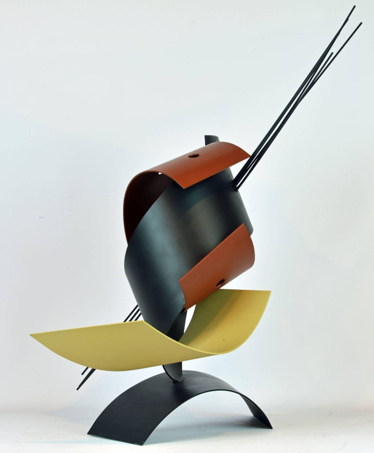 American Sophisticated Mid-Century Abstract Colorful Metal Sculpture Signed Curtis Jere For Sale