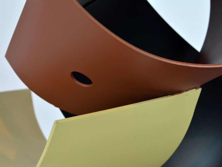 Lacquered Sophisticated Mid-Century Abstract Colorful Metal Sculpture Signed Curtis Jere For Sale