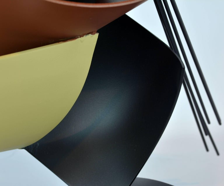 20th Century Sophisticated Mid-Century Abstract Colorful Metal Sculpture Signed Curtis Jere For Sale