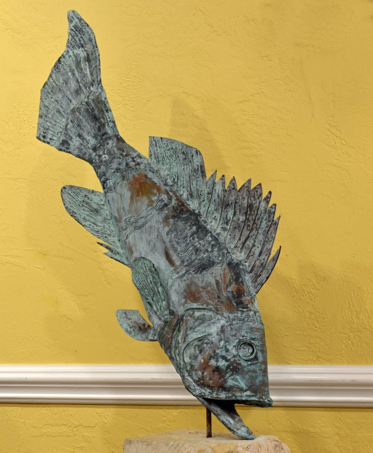 Large Verdigris Copper Sculpture of a Fish Mounted on a Real Coral Rock Pedestal 2