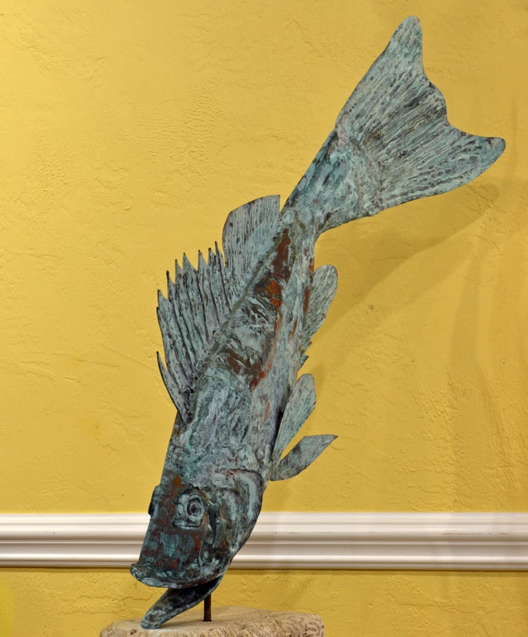 Large Verdigris Copper Sculpture of a Fish Mounted on a Real Coral Rock Pedestal 3