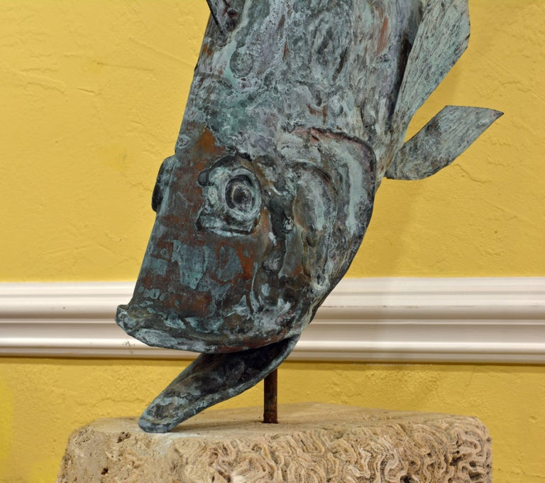Large Verdigris Copper Sculpture of a Fish Mounted on a Real Coral Rock Pedestal 4