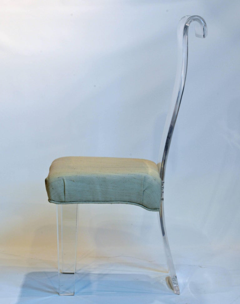 Set of Six Mid-Century, Sculptural Lucite High Back Dining Room Chairs with Silk 5
