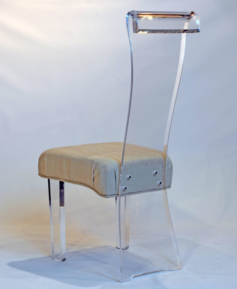 Set of Six Mid-Century, Sculptural Lucite High Back Dining Room Chairs with Silk 6