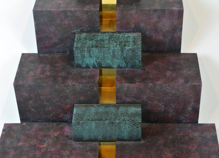 Cubist Style Sophisticated Metal and Brass Wall Sculpture Signed by Curtis Jere 7