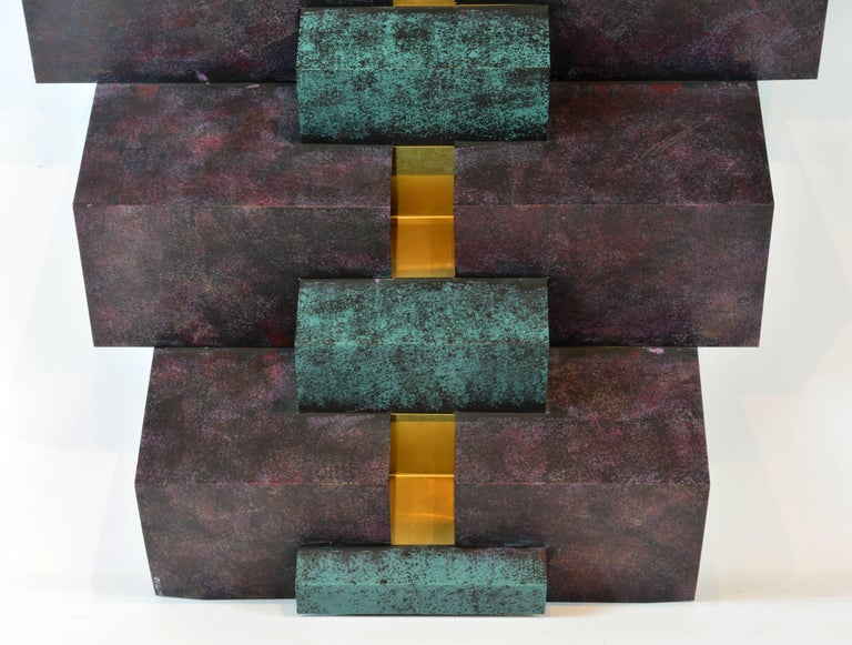Cubist Style Sophisticated Metal and Brass Wall Sculpture Signed by Curtis Jere 6