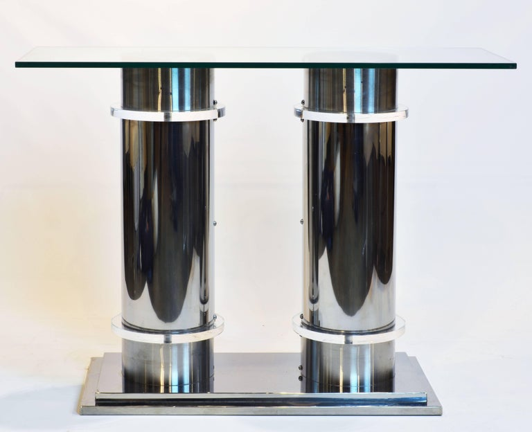 Modern Design Twin Column Chrome, Aluminium and Lucite Glass Top Console Table 3