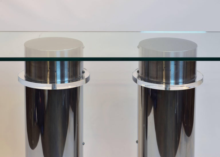 Modern Design Twin Column Chrome, Aluminium and Lucite Glass Top Console Table 4