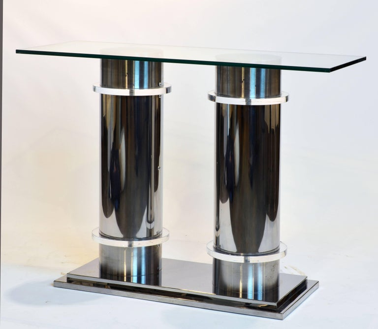 Modern Design Twin Column Chrome, Aluminium and Lucite Glass Top Console Table 2