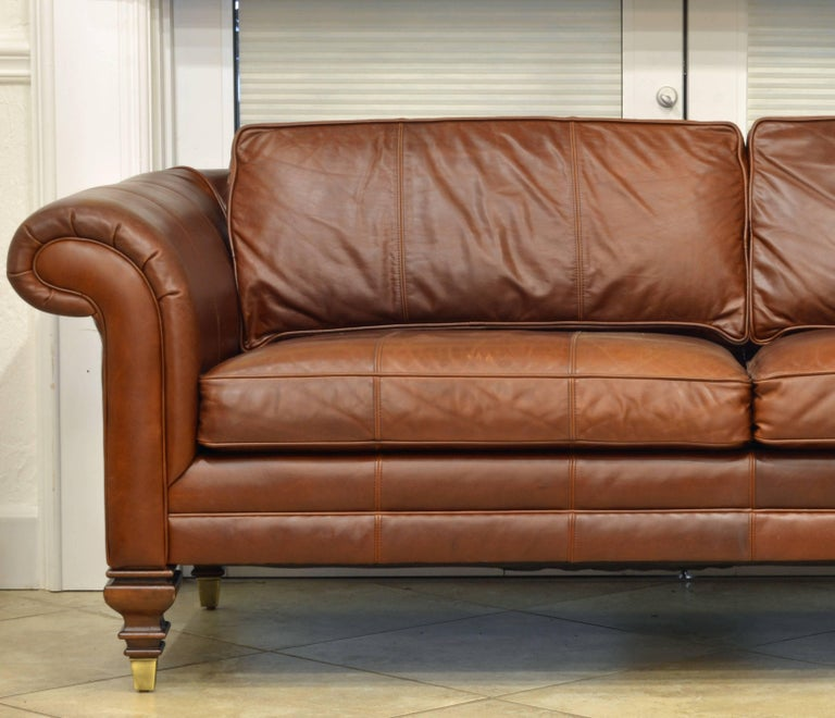 vintage high quality colonial style ralph lauren leather sofa with rolled arms at 1stdibs. Black Bedroom Furniture Sets. Home Design Ideas