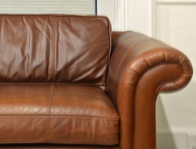 Vintage High Quality Colonial Style Ralph Lauren Leather Sofa with Rolled Arms 3