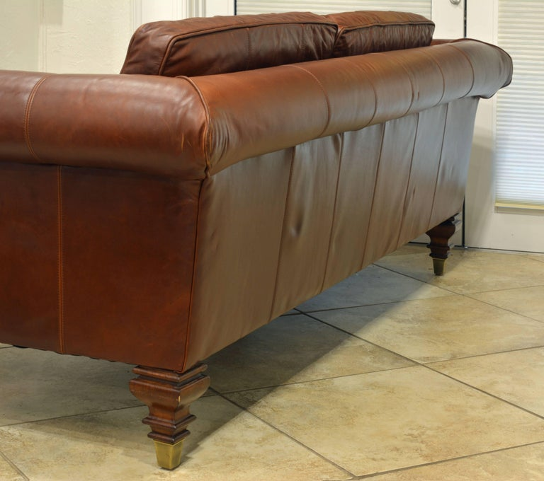 Vintage High Quality Colonial Style Ralph Lauren Leather Sofa with Rolled Arms 4