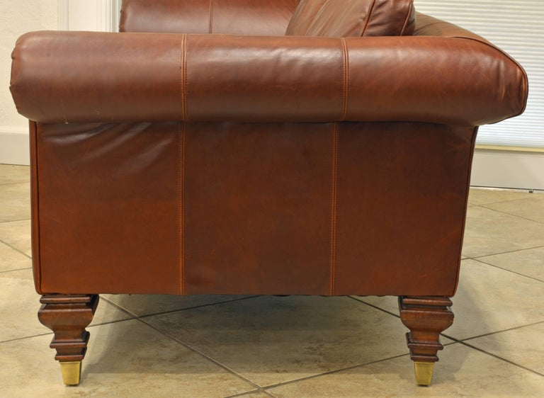 Vintage High Quality Colonial Style Ralph Lauren Leather Sofa with Rolled Arms 5