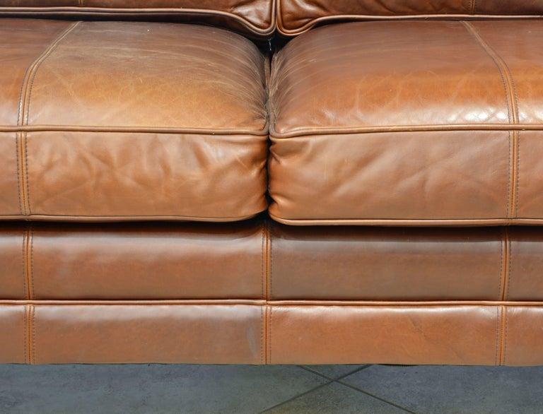 Vintage High Quality Colonial Style Ralph Lauren Leather Sofa with Rolled Arms 8