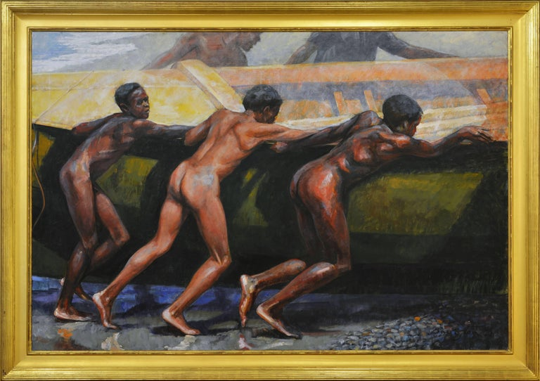 'Launching the Boat' Important Large Work by Barrington Watson Jamaica 1931-2016 2