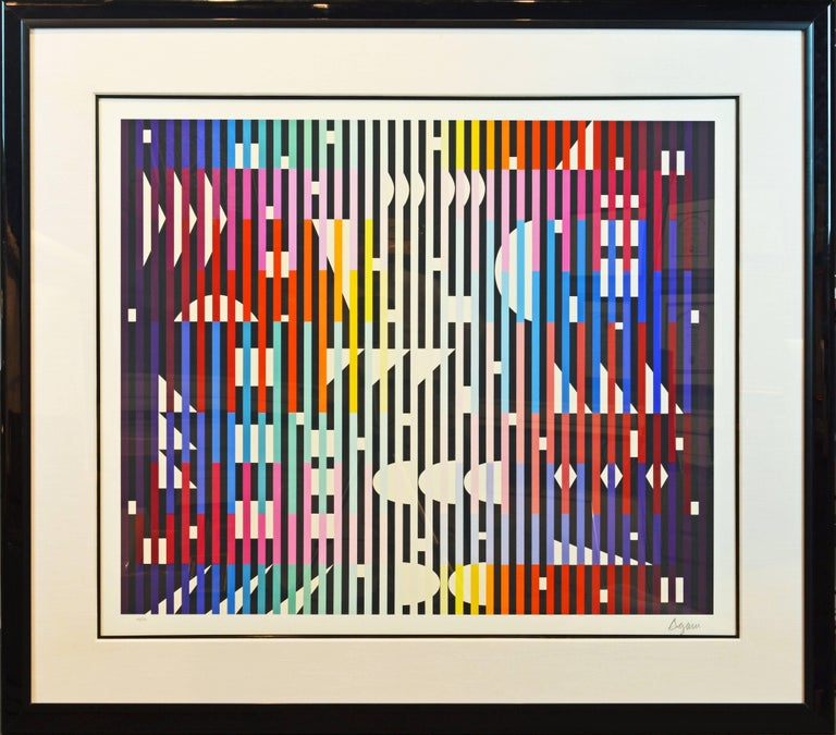 Well framed with wide matting this very large serigraph is signed and numbered in pencil by Yaacov Agam, Israeli, b. 1928, Rishon LeZion, Israel, based in Paris, France. Size including frame: 52 x 59 in. Image size: 35 in x 42 in.