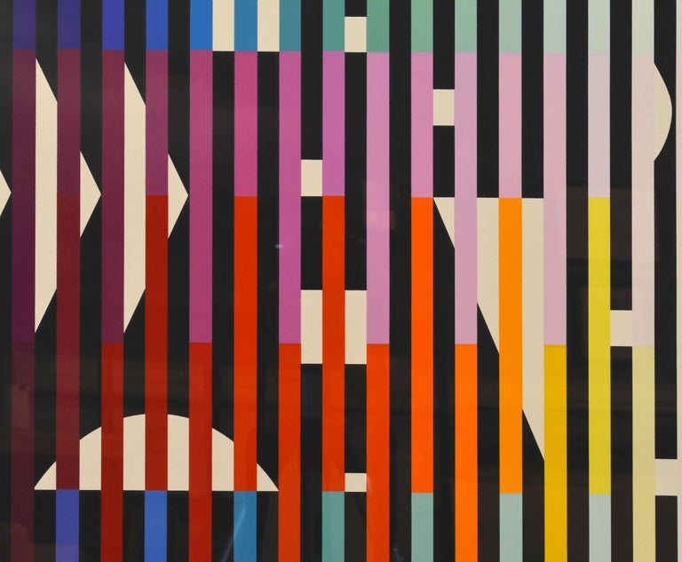 French 'Sparkling Night Rainbow' Extra Large Serigraph Signed/Numbered by Yaacov Agam For Sale