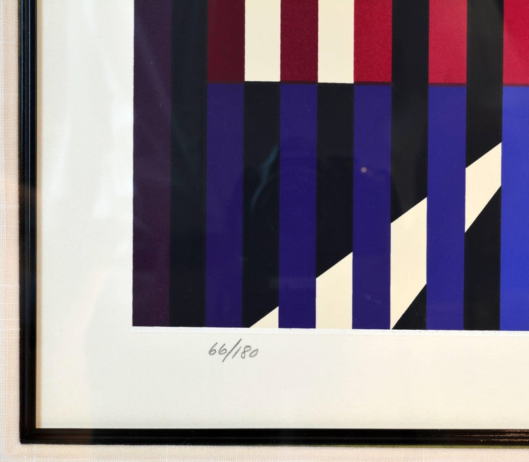 Late 20th Century 'Sparkling Night Rainbow' Extra Large Serigraph Signed/Numbered by Yaacov Agam For Sale