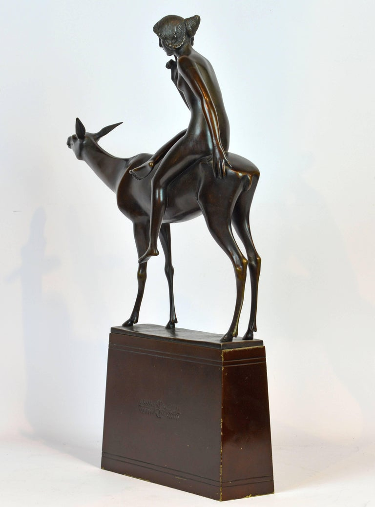 'Young Woman on a Deer' Unique Large Art Deco Bronze Sculpture by Paul Peterich 4
