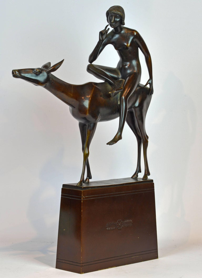 'Young Woman on a Deer' Unique Large Art Deco Bronze Sculpture by Paul Peterich 2