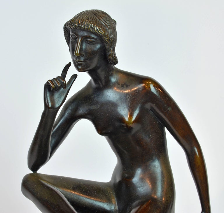 'Young Woman on a Deer' Unique Large Art Deco Bronze Sculpture by Paul Peterich 5