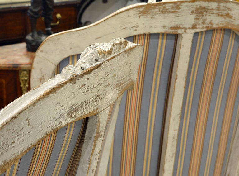 Pair of Charming Late 19th Century French Louis XV Style Painted Open Armchairs For Sale 6