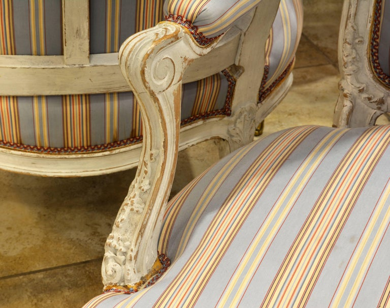 Fabric Pair of Charming Late 19th Century French Louis XV Style Painted Open Armchairs For Sale