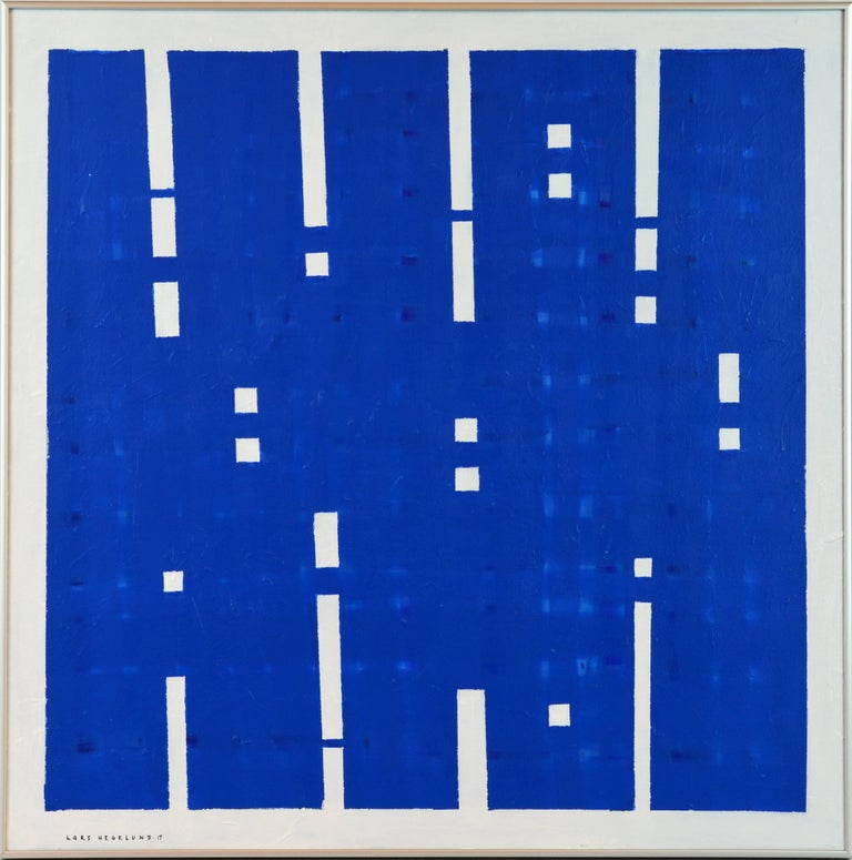 'Light's On' by Lars Hegelund, American, b. 1947. Measures: 30 x 30 in without frame 31 x 31 in. including frame, Acrylic on canvas, signed. Housed in a Minimalist style brushed aluminium frame.  About Lars Hegelund: Lars Hegelund graduated