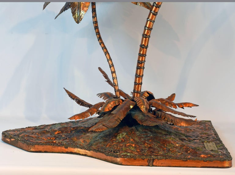 Unique Copper Sculpture of a Palm Tree Group by Michael Crawford 5
