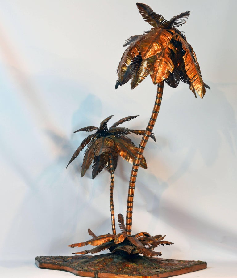Unique Copper Sculpture of a Palm Tree Group by Michael Crawford 2