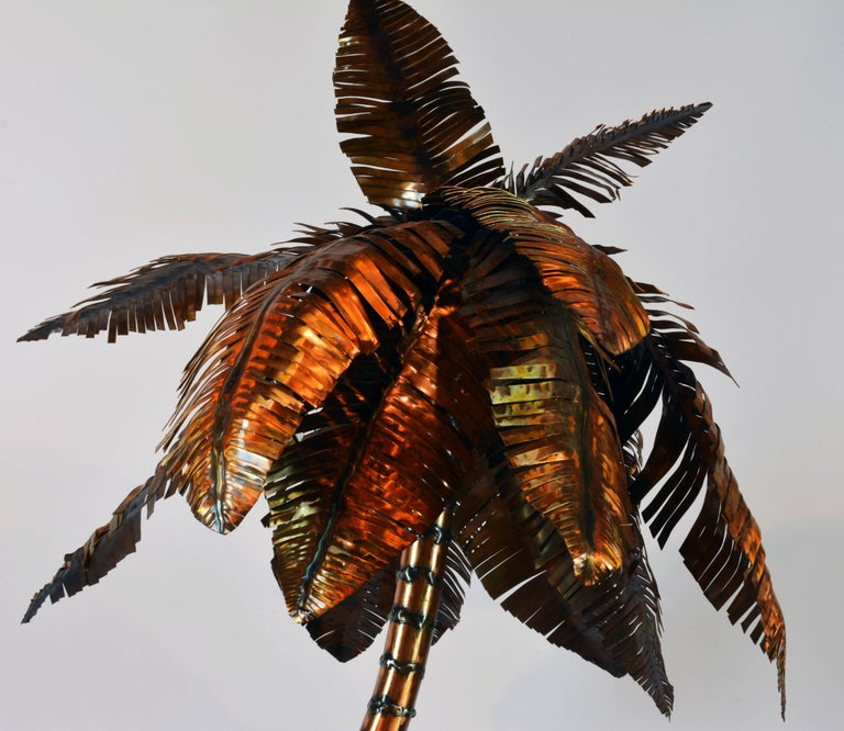 Unique Copper Sculpture of a Palm Tree Group by Michael Crawford 3