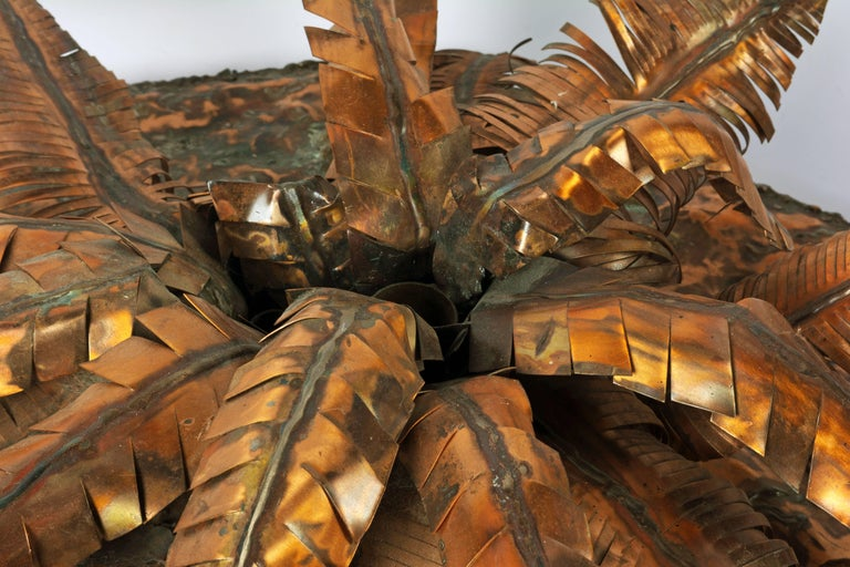 Unique Copper Sculpture of a Palm Tree Group by Michael Crawford 10