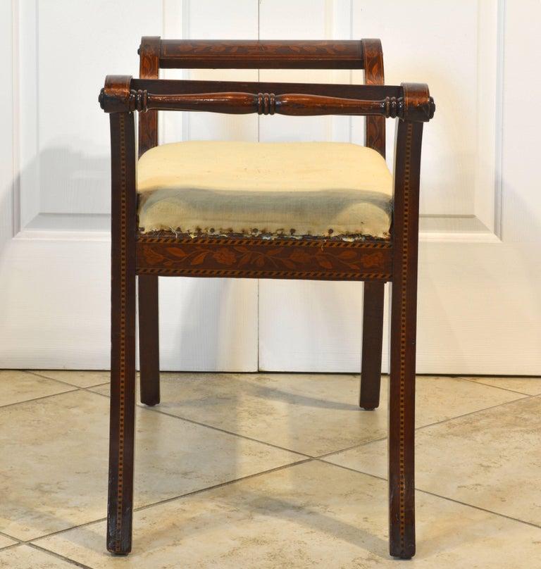 Elegant 19th Century English Neoclassical Inlaid Mahogany Bench or Stool 4