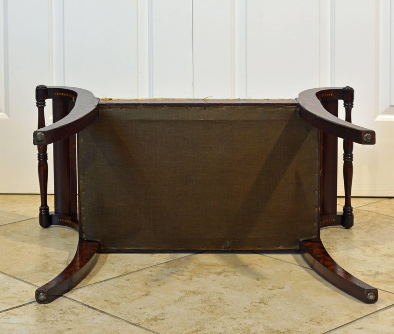 Upholstery Elegant 19th Century English Neoclassical Inlaid Mahogany Bench or Stool For Sale