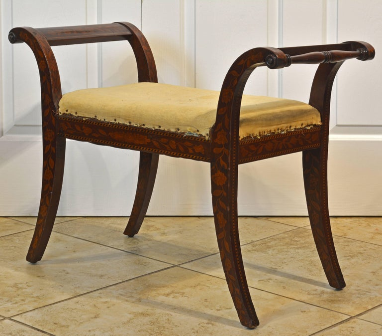 Inlay Elegant 19th Century English Neoclassical Inlaid Mahogany Bench or Stool For Sale