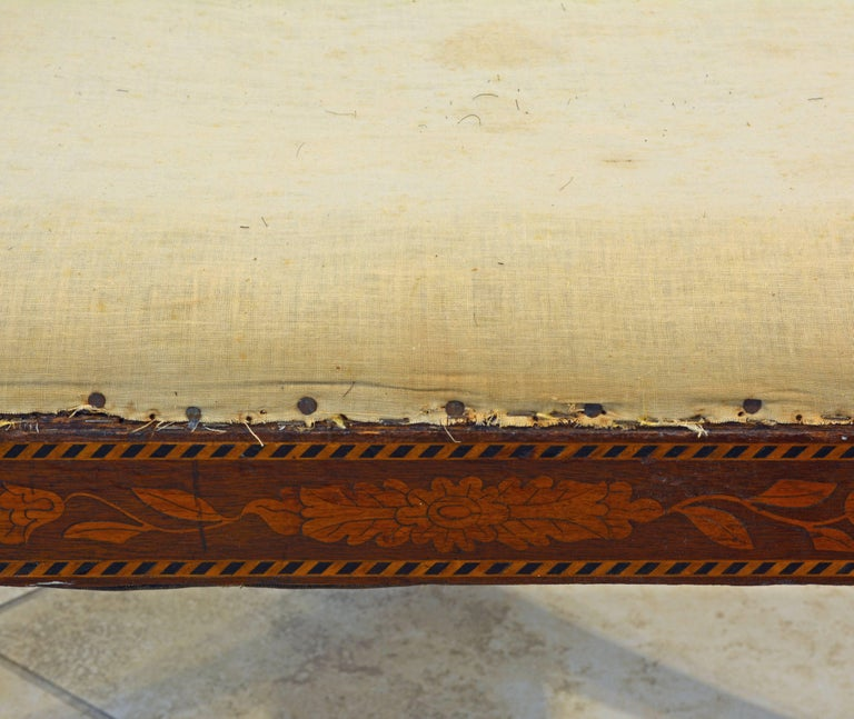Elegant 19th Century English Neoclassical Inlaid Mahogany Bench or Stool For Sale 5