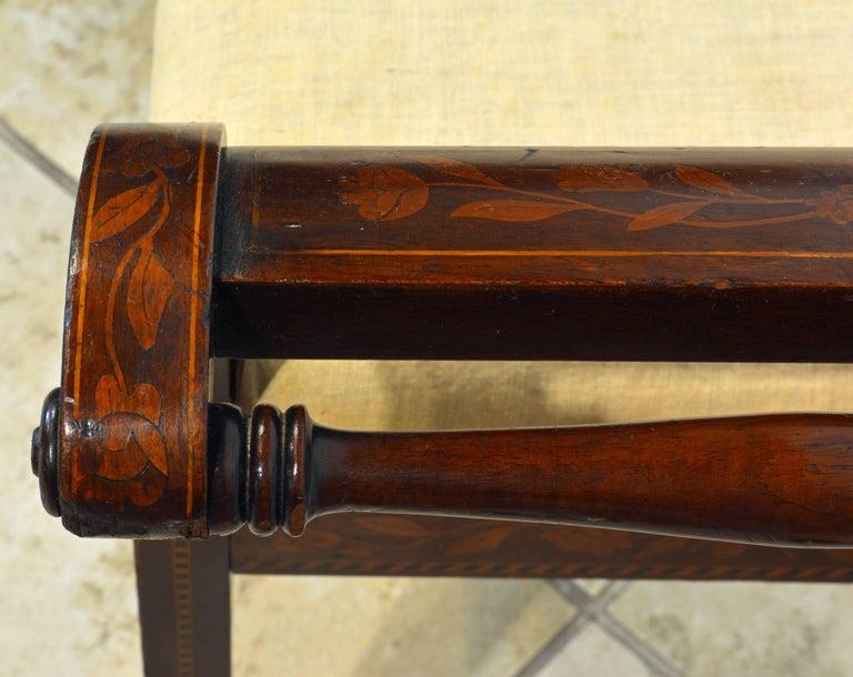 Elegant 19th Century English Neoclassical Inlaid Mahogany Bench or Stool 8
