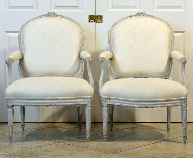 Pair of Late 19th Century, French, Louis XV Style Painted Open Armchairs 3