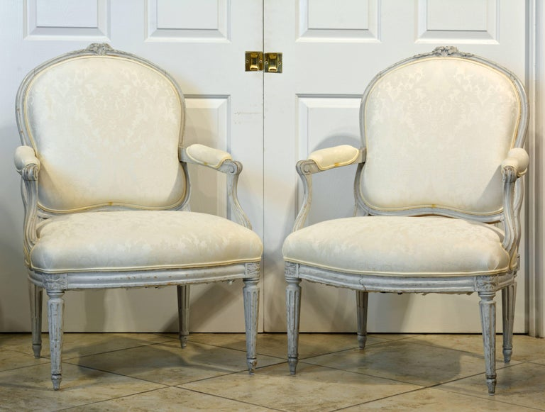 Pair of Late 19th Century, French, Louis XV Style Painted Open Armchairs 2
