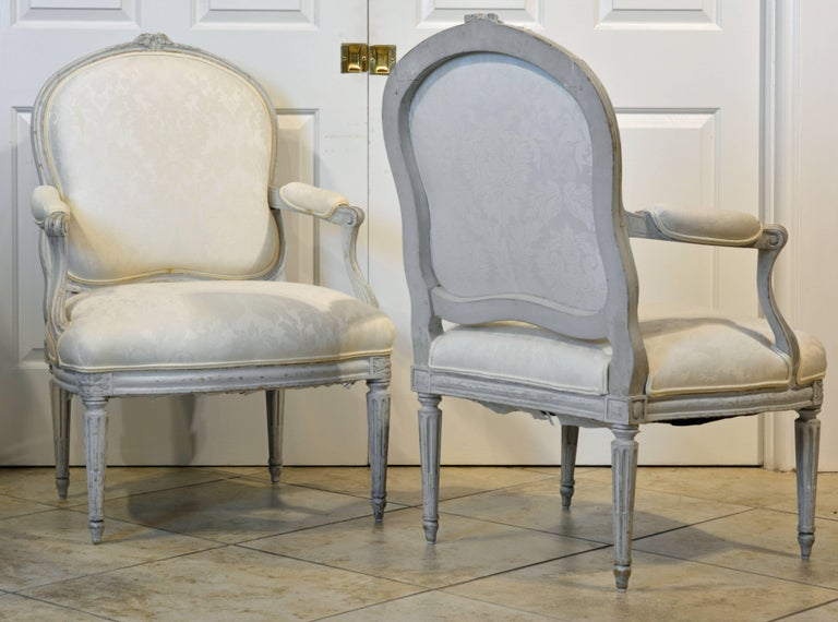 Pair of Late 19th Century, French, Louis XV Style Painted Open Armchairs 4