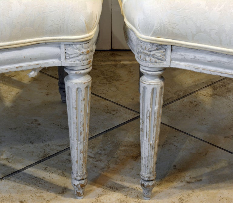 Pair of Late 19th Century, French, Louis XV Style Painted Open Armchairs 9