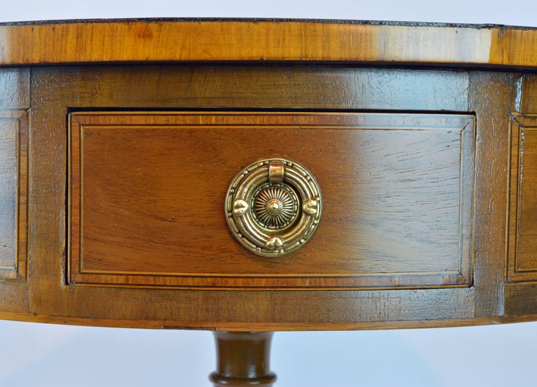 19th Century Petite English Regency Style Four-Drawer Leather Top Drum Occasional Table For Sale