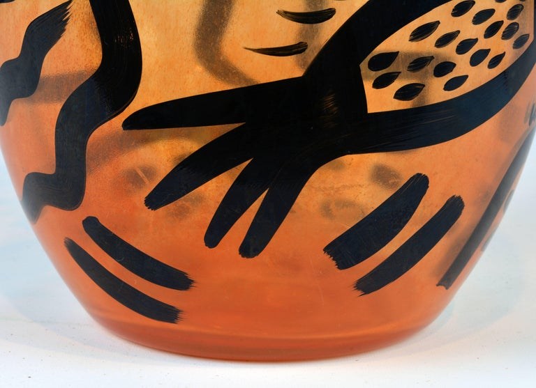 Tall Abstract Painted Art Glass Vase by Ulrica Hydman-Vallien for Kosta Boda In Good Condition For Sale In Ft. Lauderdale, FL