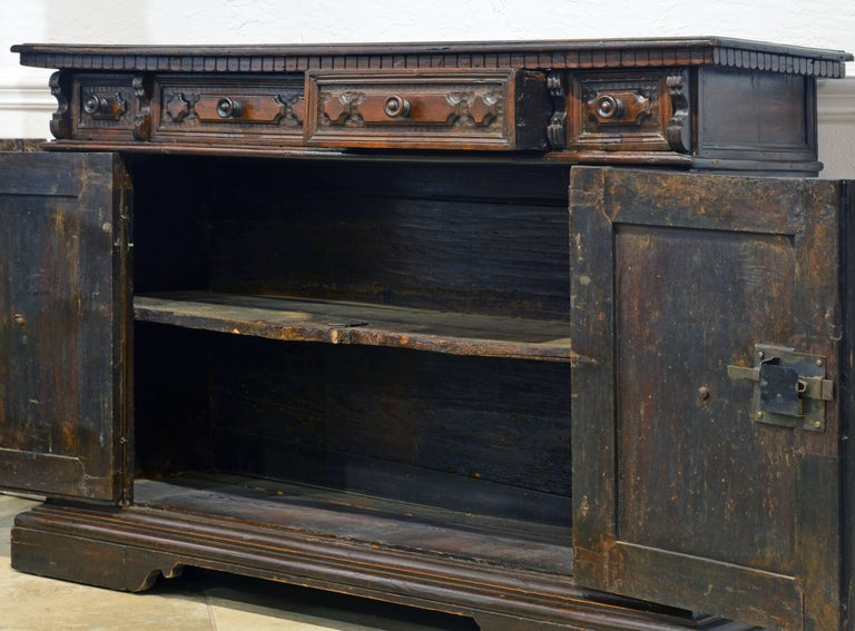 Wood 17th Century Richly Carved Italian Baroque Walnut Credenza or Buffet For Sale