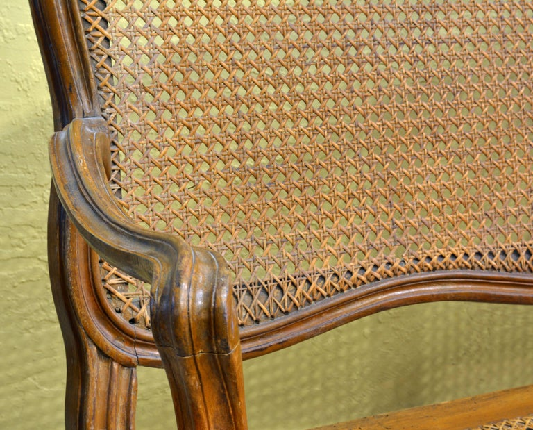 This charming French Provincial settee features an arched caned back centering a floral carving and a caned shaped seat with carved apron resting on eight cabriole legs.