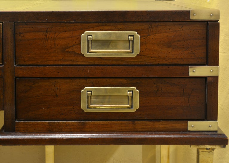 20th Century Mahogany and Brass Leather Top Campaign Style Executive Desk by Sligh, Michigan For Sale
