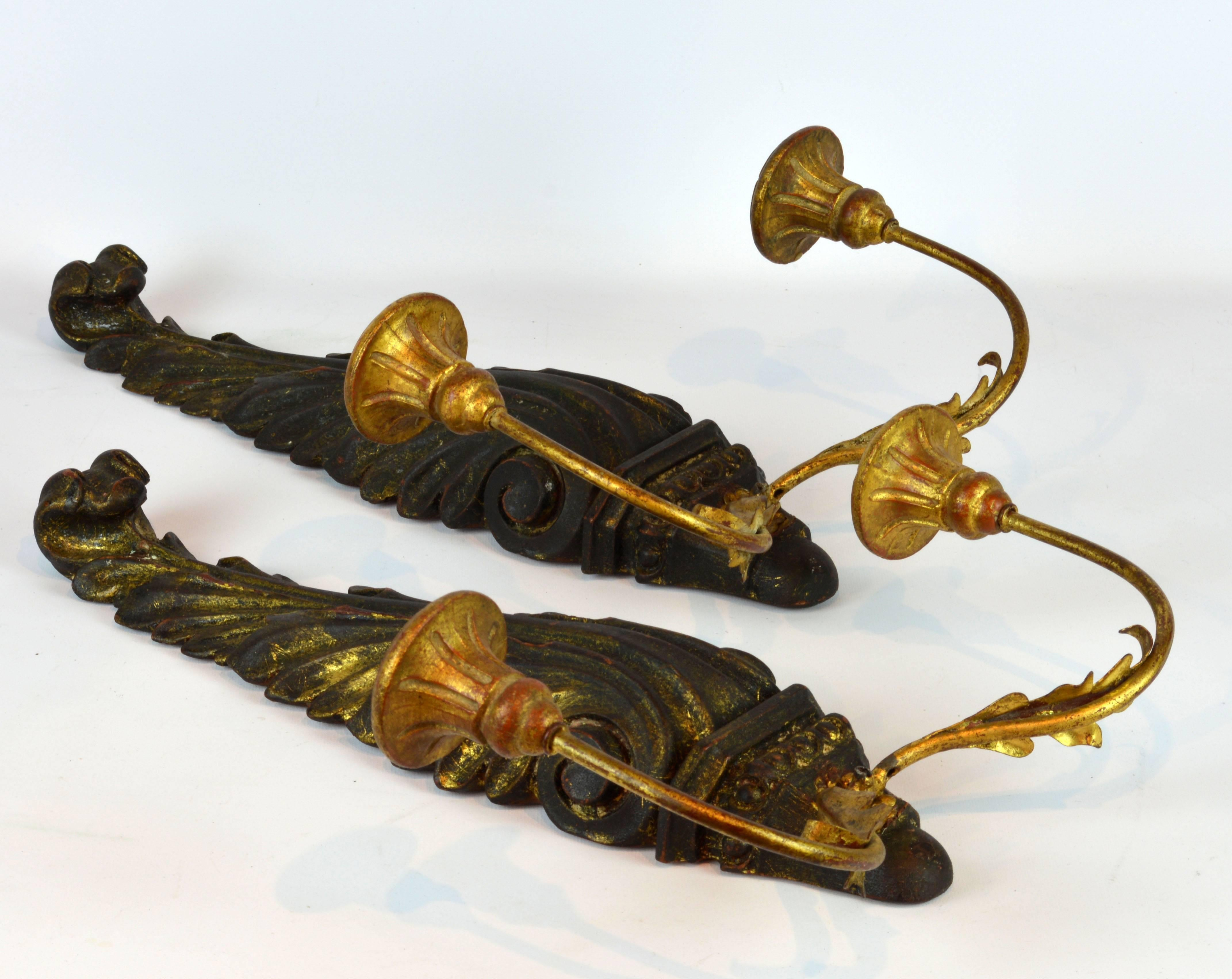 Pair of Italian 1950s Palladio Wood and Gilt Iron Neoclassical Wall Sconce