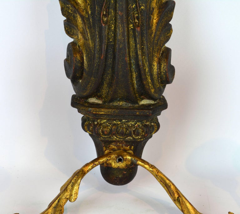 Pair of Italian 1950s Palladio Wood and Gilt Iron Neoclassical Wall Sconce 3