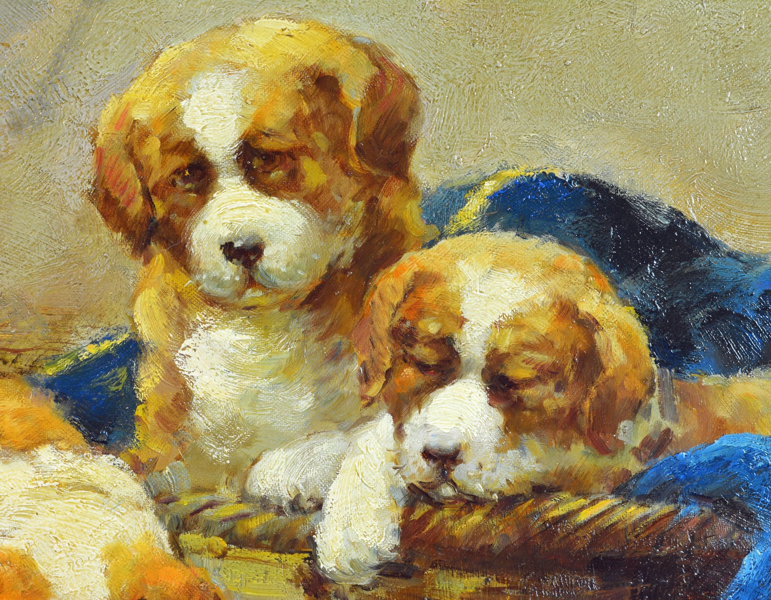 Family of St. Bernard Puppies Playing Around a Mouse Trap by Jean ...