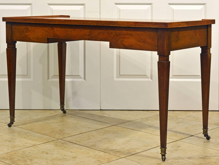 American Noble Directoire Style Figured & Bookmatched Walnut Writing Table/Desk by Baker For Sale